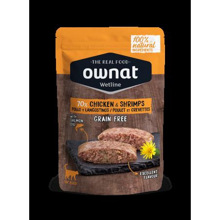 OWNAT Pâtée pour Chat - Sans Céréales - Poulet et Crevettes